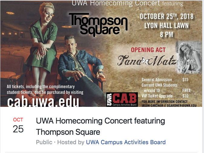 UWA Homecoming Concert Featuring Thompson Square